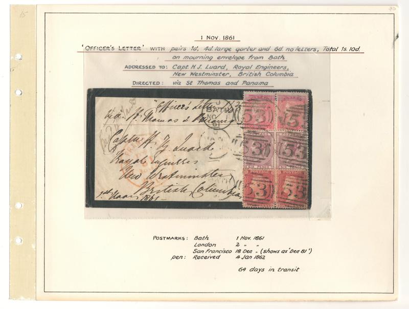 folder letter, stamp block in Wellburn album page