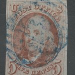 U.S.A. #1 Fine blue cancel Used 1847 5c Franklin Shade