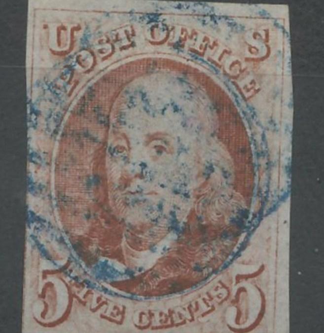 U.S.A. #1 Fine blue cancel Used 1847 5c Franklin Shade