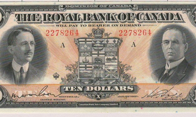 Royal Bank of Canada Unc 1927 $10 Banknote S/N 2278264