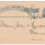Wapella, Assa 1883 1c unrecorded manuscript postmark postal card