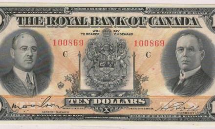 Royal Bank of Canada XF 1933 $10 Banknote