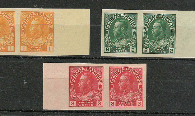 Canada #136-138 VFNH Wing Margin Imperforate Pairs Set (6)