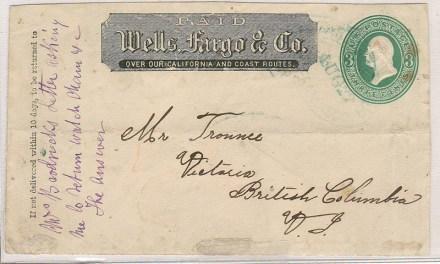 Victoria, V.I. SFR 3c Paid Wells Fargo Front, Thomas Trounce