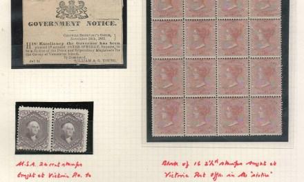 B.C. #2 Mint Block of 16, U.S. 24c flty Mint Pair, ex Wellburn & O'Reilly