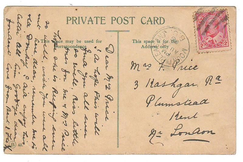 handwritten back of postcard