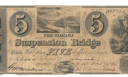 Niagara Suspension Bridge Bank 1840 $5 Bill