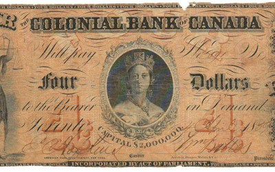 Colonial Bank of Canada 1859 $4 Bill