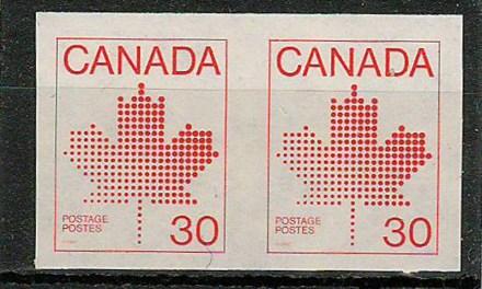 Canada #950a 1982 30c Maple Leaf Imperforate Pair