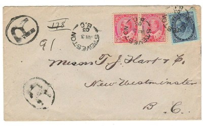 Steveston, B.C. #79, 90 3 Jul 1903 9c Registered Cover to New West  84 Steveston, B.C.