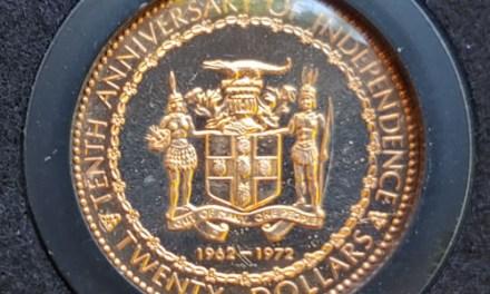 Jamaica Proof 1972 Columbus $20 Gold .2515oz AGW