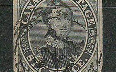 Canada #5 VF Montreal 4-ring 21 1855 6d Slate Grey
