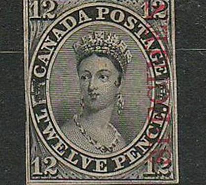 Canada #3Pi 1851 12d Black Specimen Plate Proof