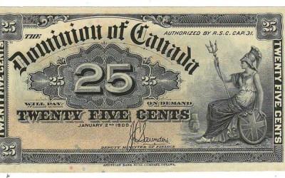 Dominion of Canada #DC15c 1900 25c Shinplaster