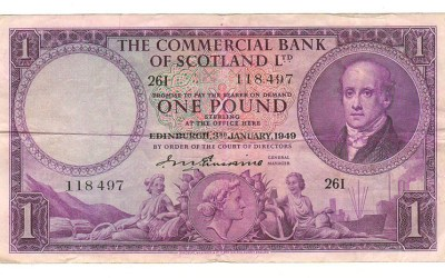 Commercial Bank of Scotland PS#332 1949 Pound note