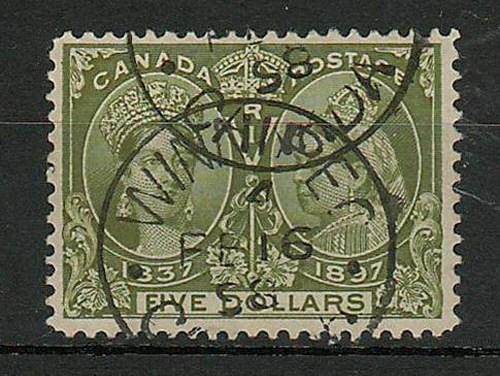 Canada #65 Winnipeg 16 Feb 1898 CDS $5 Jubilee