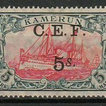 Cameroun #65 F/VF Mint HR 1915 5Sh on 5Mk Yacht