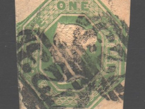 G.B. #5 Fine Used 1847 1/- Pale Green, notched