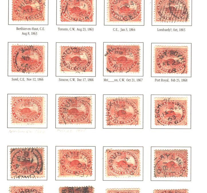 Canada #15 1859 5c Beaver cancels study (25)