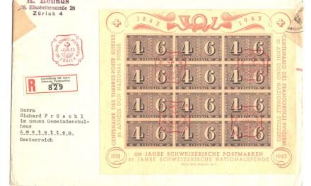 Switzerland #B130 6 Mar 1943 Censored Registered Cover to Austria