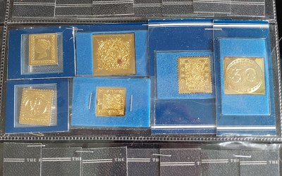 First issue gilded Silver stamp replicas from 41 nations 9oz ASW