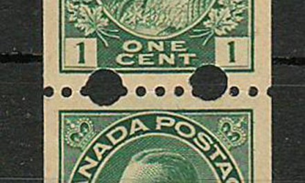 Canada #131iv VF Mint one NH 1918 1c Toronto Experimental Coil Pair