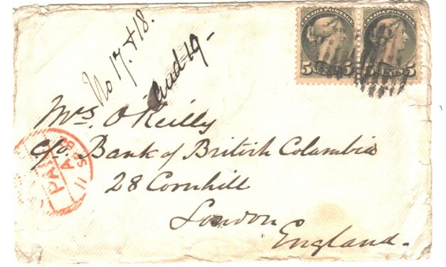 Victoria, B.C. 21 Au 1882 5c SQ Pair Wellburn Cover to Mrs. O'Reilly, UK