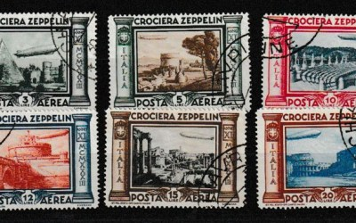Italy #C42-C47 favour cancelled 1933 Zeppelin Set (6)