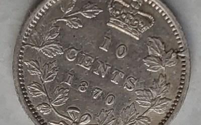 Canada ICCS EF40 1870 Narrow 0 Victoria Silver 10 Cents