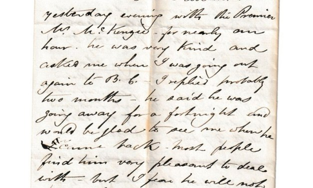 Ottawa 7 Jan 1874 4-sided Marcus Smith Letter to wife mentions B.C.