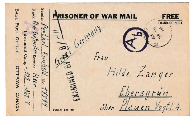 Canada 28 Sp 1943 P.O.W. Camp 133 Censored Postcard to Germany
