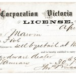 Victoria, B.C. 1875 $5 License issued to Edgar Marvin, ex Wellburn