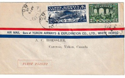 Yukon Airways #CL42f 13 ApR 1928 27c Atlin/Carcross Roessler FFC