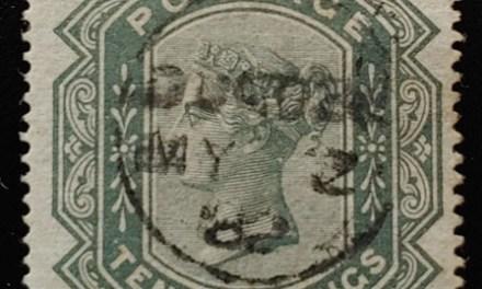 G.B. #74 Fine 1882 CDS Used 10/- Greyish Green, trifle rc