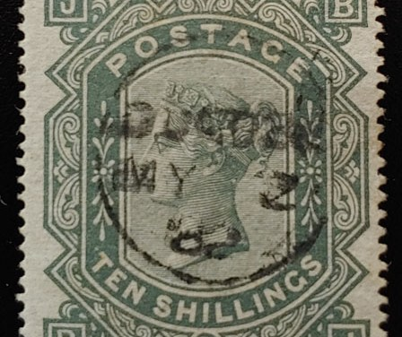 G.B. #74 Fine 1882 CDS Used 10/- Greyish Green, trifle rc