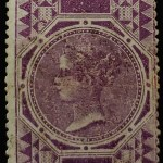 India #O14 Unu 1866 8a Violet, repaired, 1947 Fr. Cert.