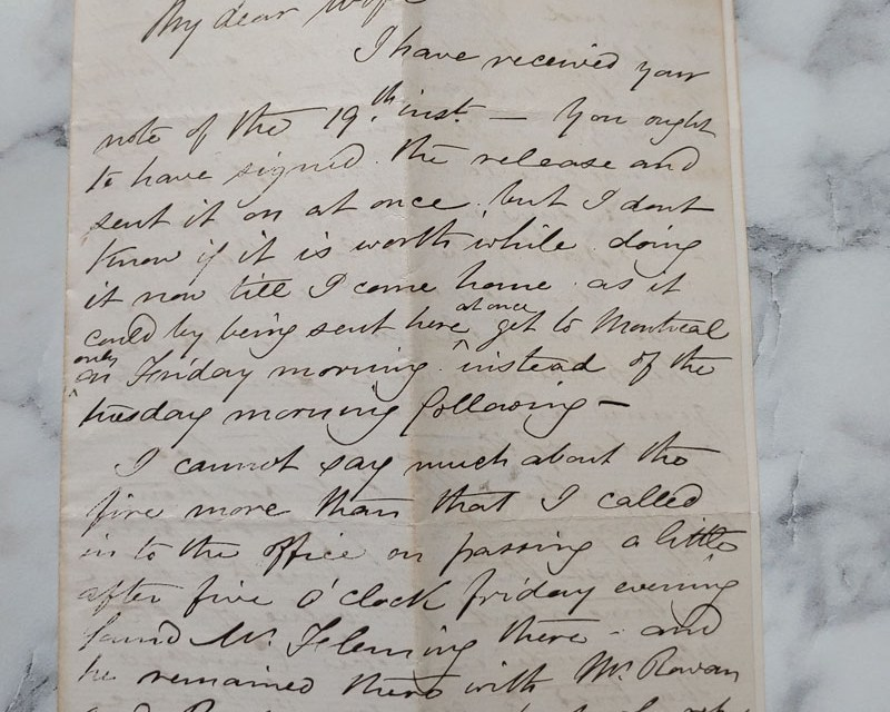 Ottawa 20 Jan 1874 4-pg Marcus Smith letter to his wife about Fire etc