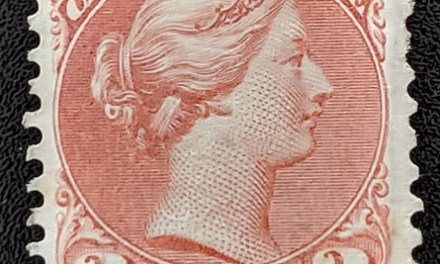 Canada #37b VF Mint 1870 3c Copper Red trifle album offset