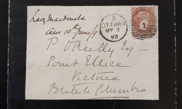 Lady Macdonald 1873 3c Mourning Cover and contents to O'Reilly