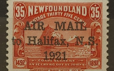 Newfoundland #C3 VF+ Mint HR 1921 35c Halifax Airmail