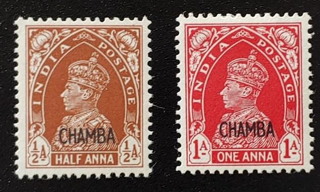 India/Chamba #87B, 88 F/VF Mint 1942 duo