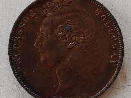 Australia VF 1858 Prof. Holloway London Penny Token, rim nicks