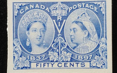 Canada #60P VF 1897 50c Jubilee Plate Proof on card