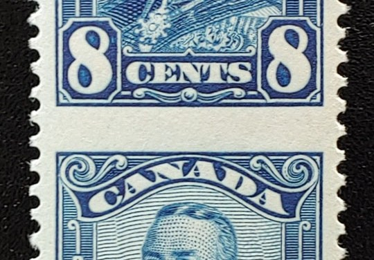 Canada #154c VFNH 1928 8c Blue Perf by Imperf Vertical Pair