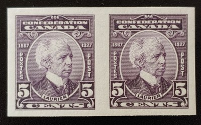 Canada #144a VFNH 1927 5c Laurier Imperforate Pair