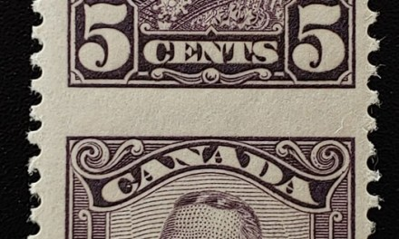 Canada #153c F/VF Never Hinged 1928 5c Perf by Imperf Pair