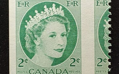 Canada #338 Never Hinged 1954 2c Wilding Misperf ex Penko