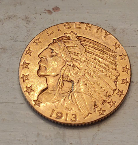 U.S.A. XF 1913S Indian Head $5 Gold Half Eagle .24187oz AGW