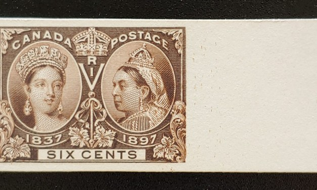 Canada #55P VF 1897 6c Jubilee rt margin Plate Proof on card