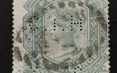 G.B. #74 Fine Used 10/- Queen Victoria Plate 1 Perfin